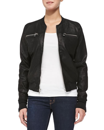 Knit-Trim Leather Bomber Jacket