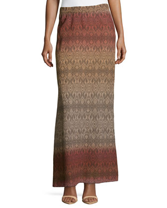 Cody Crinkle Maxi Skirt, Basket Weave Ombre Peach