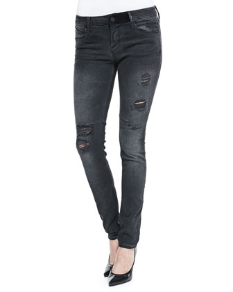 Mid-Rise Distressed Skinny Jeans, Black Smoke