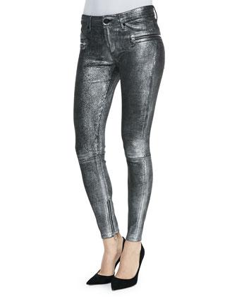 Skinny Metallic Hip-Zip Jeans