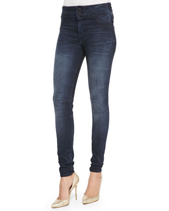 High Pleated-Waist Skinny Jeans, Dark Ink