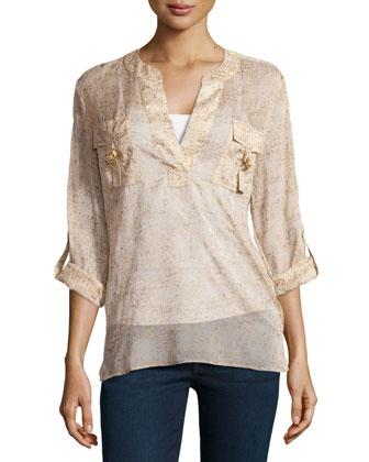 Danielle Long-Sleeve Metallic-Print Crepe Shirt, Cork Foil