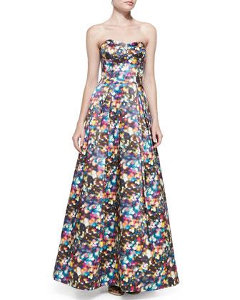 Ava Strapless Glitter-Print Ball Gown
