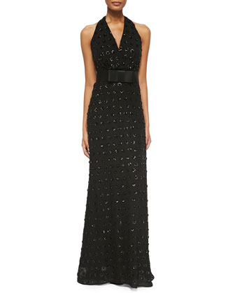 Emma Halter Sequined Dot Gown