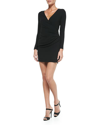 Long-Sleeve Crossover Dress with Diagonal Cutout