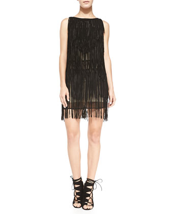 Layered Fringe Suede Dress