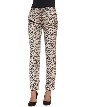 Silk Leopard-Print Trousers