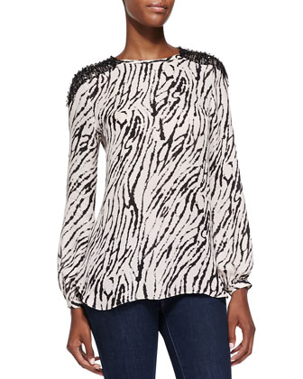 Animal-Print Blouse with Crystal Shoulders