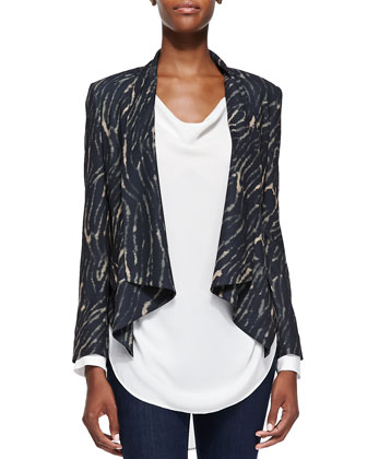 Draped Tiger-Print Jacket