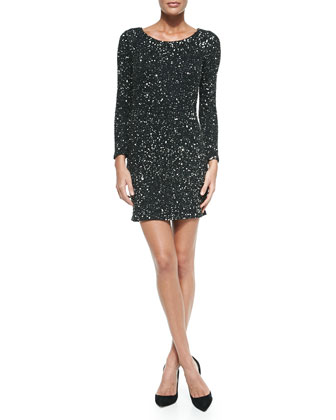 Long-Sleeve Sequin Dress, Emerald