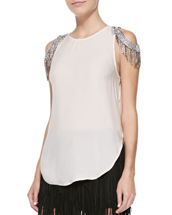 Cold-Shoulder Silk Tank with Chains & Suede Asymmetric Fringe Skirt