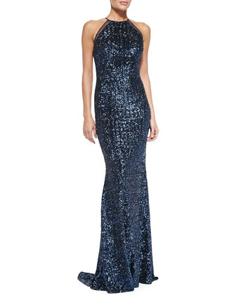 Halter Sequined Evening Gown, Navy