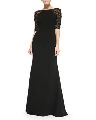 Beaded-Raglan-Sleeve Evening Gown