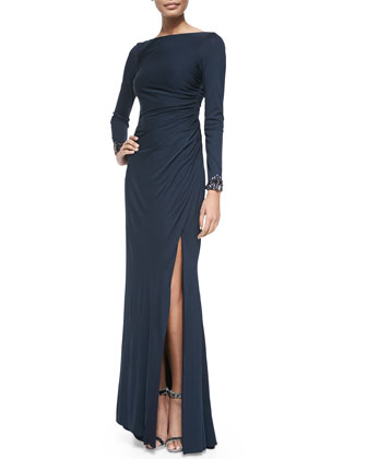 Long-Sleeve Beaded-Cuff Jersey Gown
