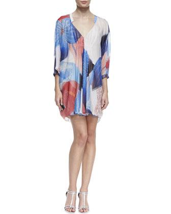 Fleurette Billow Sleeve Dress, Batik Land Large Print