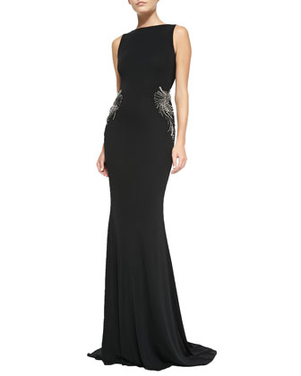 Sleeveless Draped-Back Mermaid Gown
