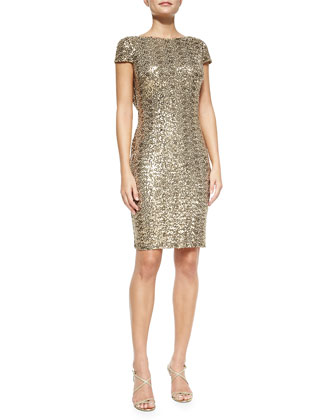 Cowl-Back Sequined Cocktail Dress