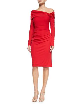 Long-Sleeve Cocktail Dress W/ Ruched Shoulder