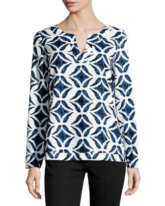 Jaden Ikat Batik-Print Voile Top, White/Blue