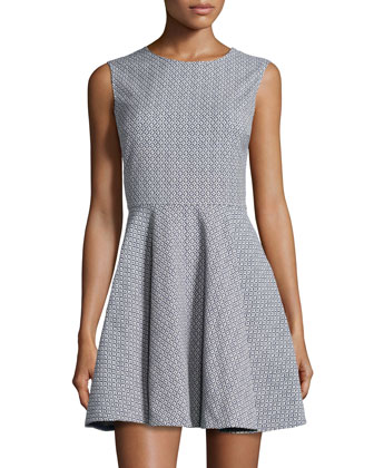 Jeannie Sleeveless Pattern Woven Dress, Blue/Cream