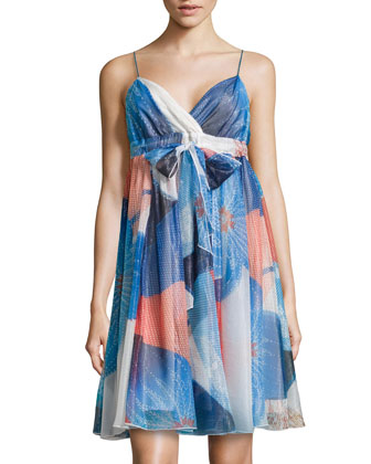Kennedy Mixed-Print Shimmer Chiffon Dress, Batik Land Large