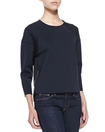 Lumley 3/4-Sleeve Scuba Top W/ Zips