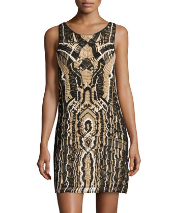 Neapoli Shimmer Woven Dress, Black/New Pearl/Gold