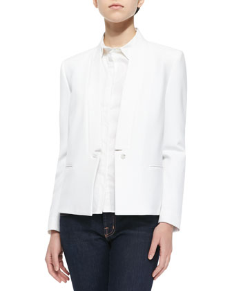 Emily Long-Sleeve Crepe Blazer