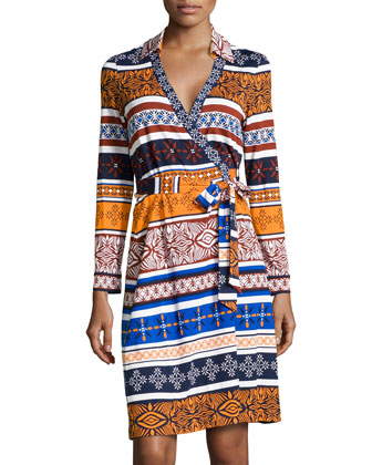 New Jeanne Long-Sleeve Mix-Print Wrap Dress
