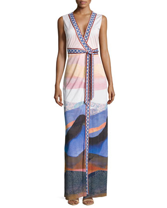 New Yahzi Sandscape-Print Long Dress
