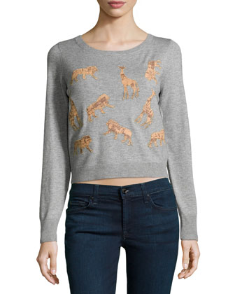 Praia Cropped Animal-Applique Sweater