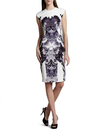 Crane-Print Sheath Dress