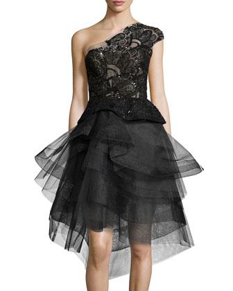 One-Shoulder Embellished Cocktail Dress