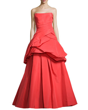 Strapless Silk Faille Tuft Gown, Poppy