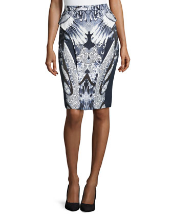 Crane Printed Canvas Skirt, Ink/White