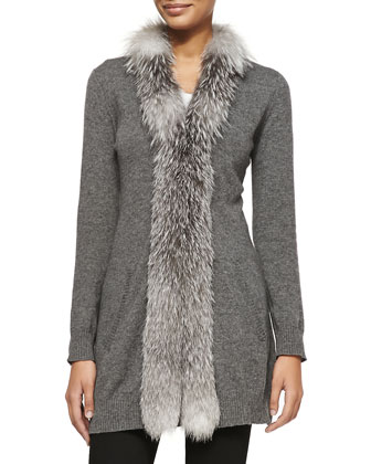 Cashmere Long Fur-Trimmed Cardigan, Gray