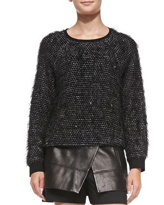 Fuzzy Tweed Sweatshirt & Leather Scissor-Front Shorts