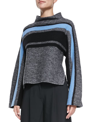 Striped Cape Wool Sweater
