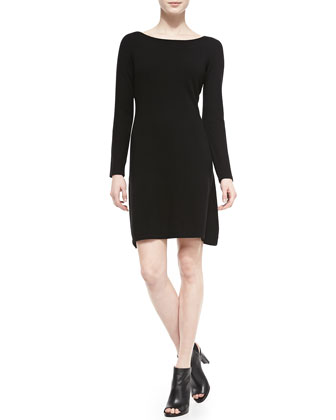 Long-Sleeve Bateau-Neck Cashmere Dress