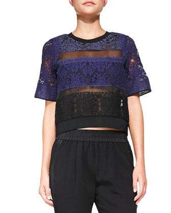 Patchwork Lace Mixed-Media Top & Knit Pull-On Pants