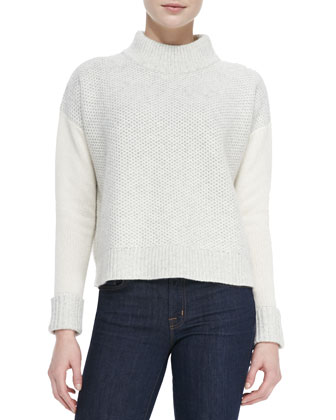 Mixed-Pattern Knit Mock-Neck Sweater