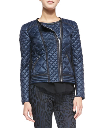 Quilted Puffer Moto Jacket, Geo Shimmer Silk Top & Leopard-Print Brocade ...