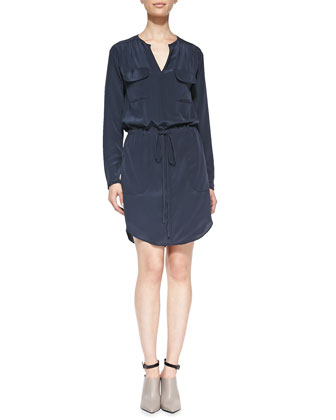 Silk Long-Sleeve Shirtdress