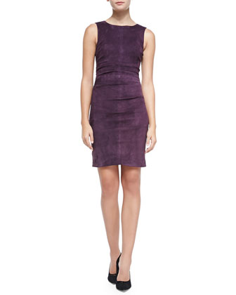 Sleeveless Suede Combo Sheath Dress, Plum