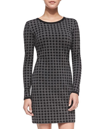 Long-Sleeve Flocked Ponte Dress