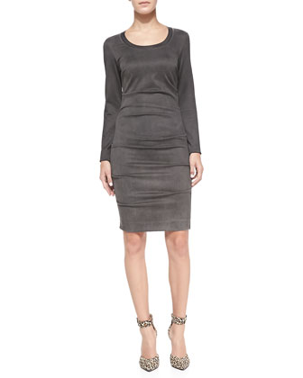 Long-Sleeve Ruched Faux-Suede Dress