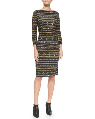 Gilded Striped Jersey Midi Dress