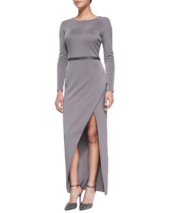 Giselle Long Asymmetric Slit Evening Dress
