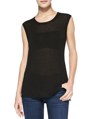 Lux Sleeveless Drapey Top, Black