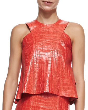 Arles Croc-Embossed Leather Top